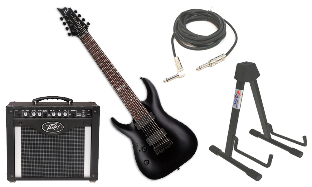 """ESP LTD H Series H-308 Mahogany Body 8 String Rosewood Fingerboard Black Satin Electric Guitar (left Hand) with Peavey Rage 258 TransTube Amp, 1/4"""" Cable & Stand"""