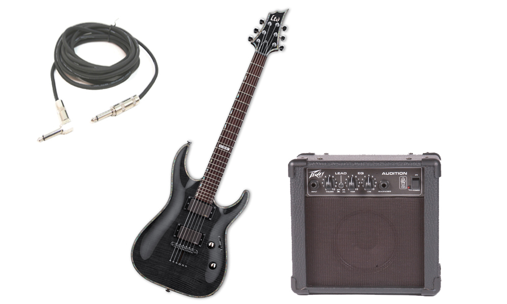 """ESP LTD H Series H-351 Flamed Maple 6 String Rosewood Fingerboard See Through Black Electric Guitar with Peavey Audition Practice Amp & 1/4"""" Cable"""