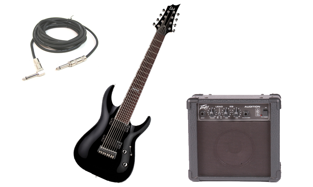 """ESP LTD H Series H-208 Basswood Body 8 String Rosewood Fingerboard Black Electric Guitar with Peavey Audition Practice Amp & 1/4"""" Cable"""