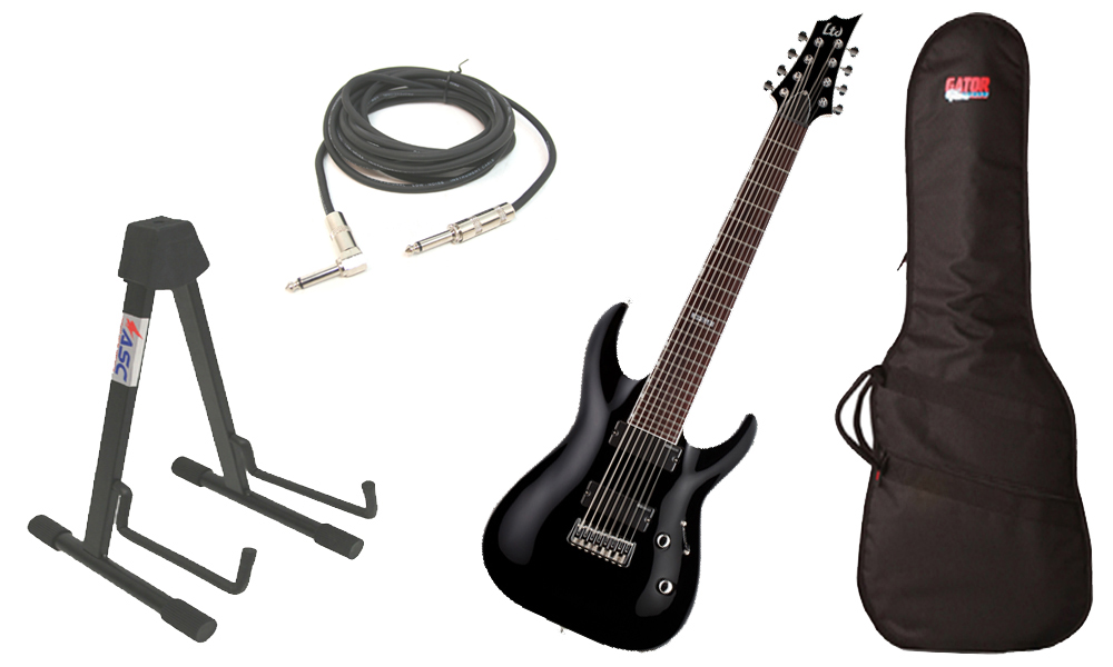 "ESP LTD H Series H-208 Basswood Body 8 String Rosewood Fingerboard Black Electric Guitar with Travel Gig Bag, Stand & 1/4"" Cable"