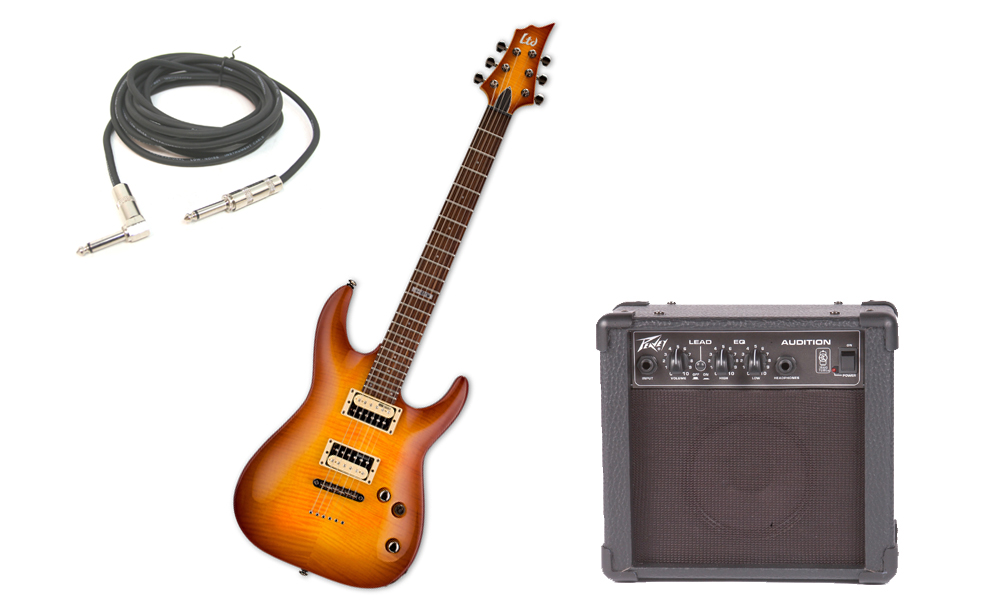"""ESP LTD H Series H-101FM Flamed Maple 6 String Rosewood Fingerboard Amber Sunburst Electric Guitar with Peavey Audition Practice Amp & 1/4"""" Cable"""