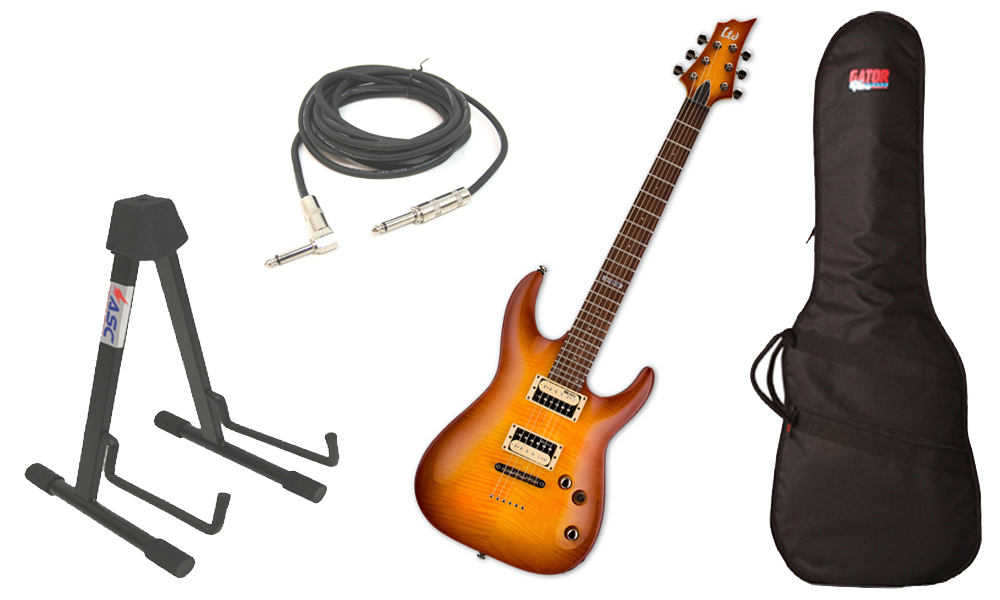 "ESP LTD H Series H-101FM Flamed Maple 6 String Rosewood Fingerboard Amber Sunburst Electric Guitar with Travel Gig Bag, Stand & 1/4"" Cable"