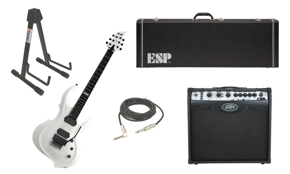 """ESP E-II FRX Maple Top 6 String Snow White Electric Guitar with Peavey VIP 2 Modeling Amp, 1/4"""" Cable & Stand"""
