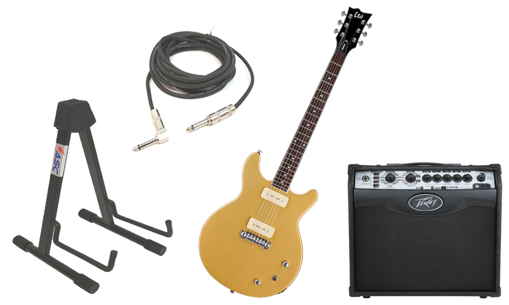 """ESP LTD Hybrid II Mahogany Body 6 String Rosewood Fingerboard Metallic Gold Electric Guitar with Peavey VIP 1 Modeling Amp, 1/4"""" Cable & Stand"""