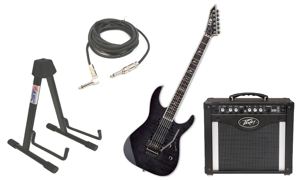 """ESP LTD M Series M-1000 Flamed Maple 6 String Rosewood Fingerboard See Through Black Electric Guitar with Peavey Rage 258 TransTube Amp, 1/4"""" Cable & Stand"""
