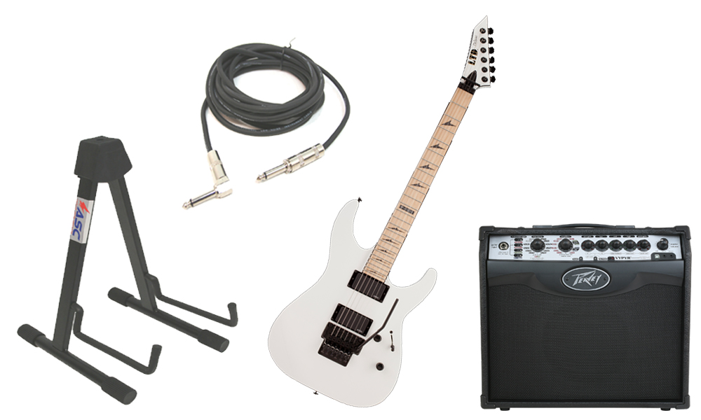 """ESP LTD M Series M-1000 Alder Body 6 String Maple Fingerboard Snow White Electric Guitar with Peavey VIP 1 Modeling Amp, 1/4"""" Cable & Stand"""