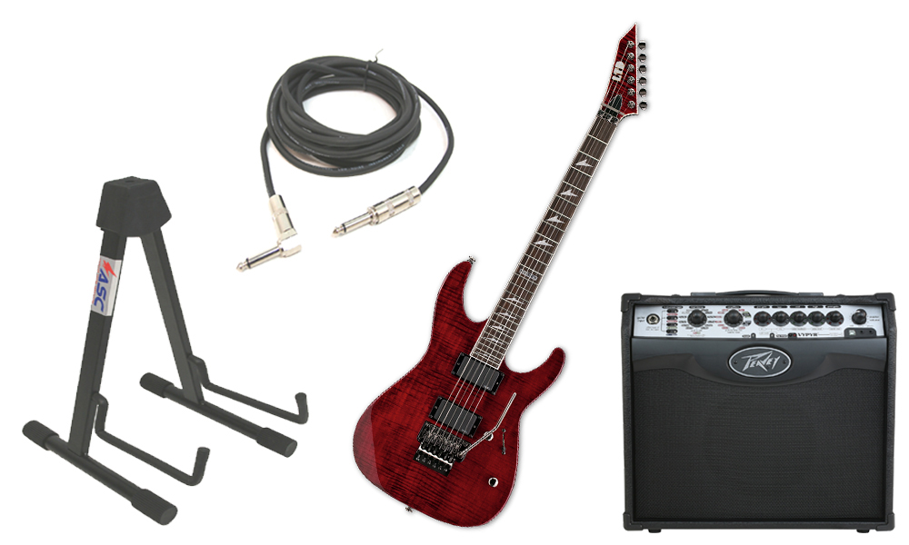 """ESP LTD M Series M-300FM Flamed Maple 6 String Rosewood Fingerboard See Through Black Cherry Electric Guitar with Peavey VIP 1 Modeling Amp, 1/4"""" Cable & Stand"""