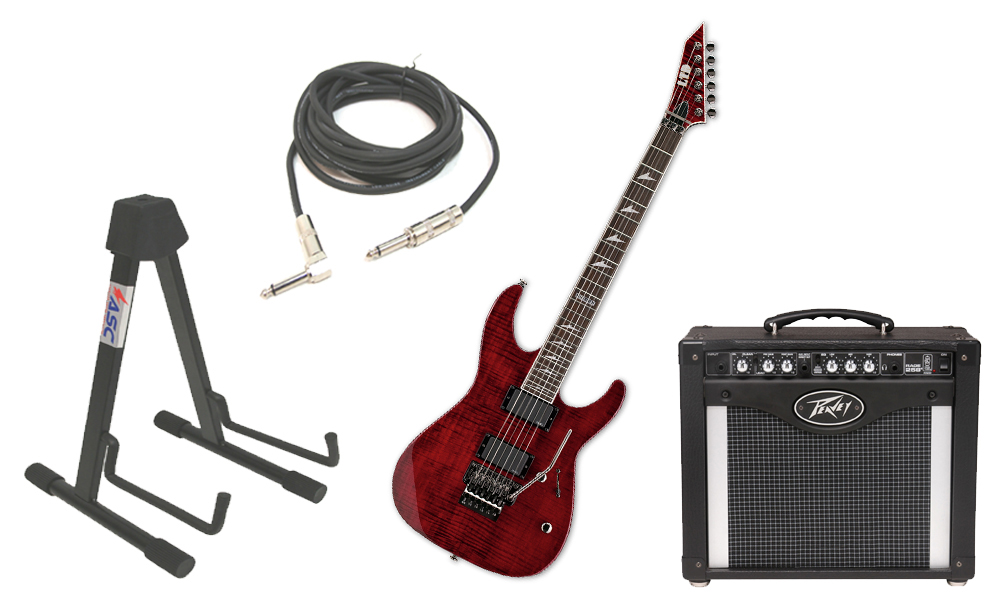 """ESP LTD M Series M-300FM Flamed Maple 6 String Rosewood Fingerboard See Through Black Cherry Electric Guitar with Peavey Rage 258 TransTube Amp, 1/4"""" Cable & Stand"""