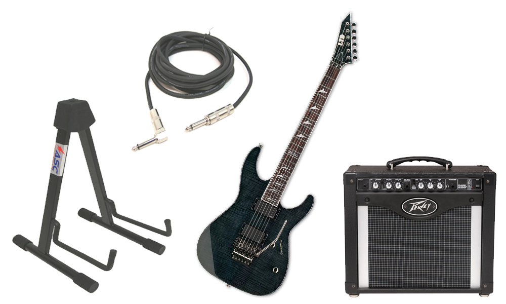 """ESP LTD M Series M-300FM Flamed Maple 6 String Rosewood Fingerboard See Through Black Electric Guitar with Peavey Rage 258 TransTube Amp, 1/4"""" Cable & Stand"""