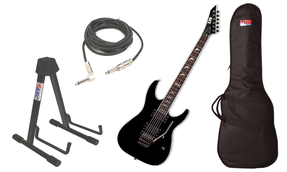 """ESP LTD M Series M-330R Mahogany Body 6 String Rosewood Fingerboard Black Electric Guitar with Travel Gig Bag, Stand & 1/4"""" Cable"""