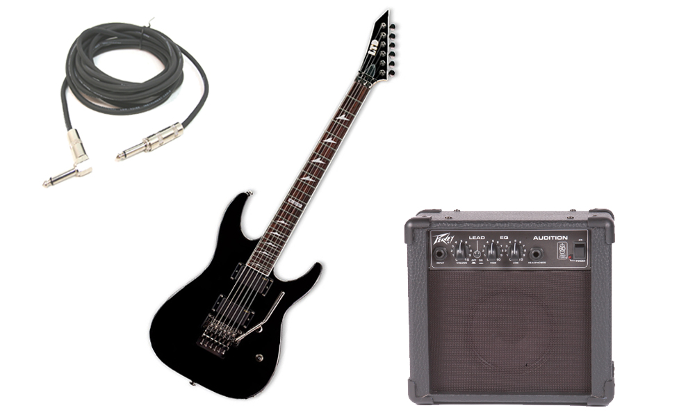"ESP LTD M Series M-330R Mahogany Body 6 String Rosewood Fingerboard Black Electric Guitar with Peavey Audition Practice Amp & 1/4"" Cable"