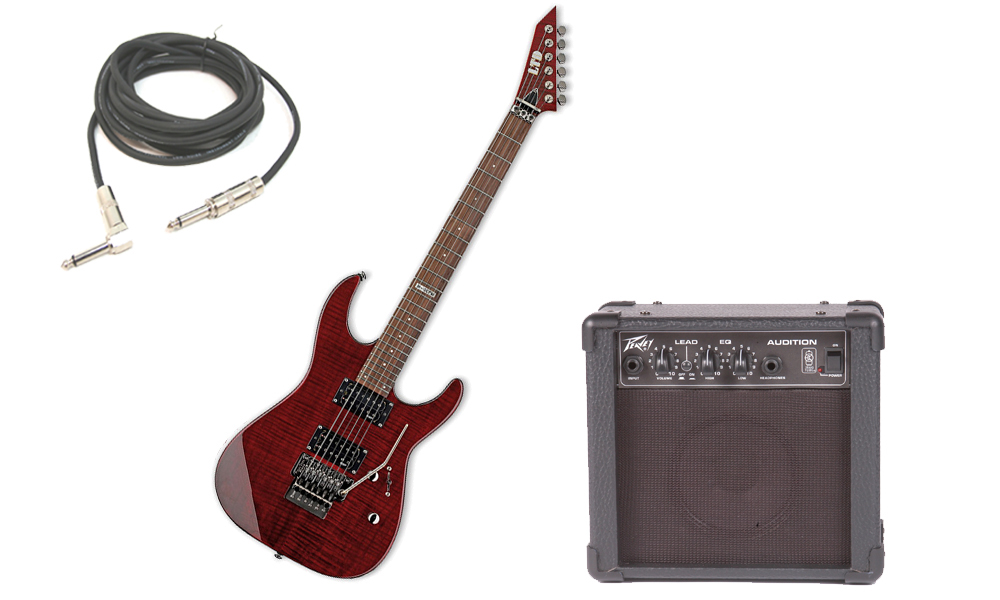 "ESP LTD M Series M-100FM Flamed Maple 6 String Rosewood Fingerboard See Through Black Cherry Electric Guitar with Peavey Audition Practice Amp & 1/4"" Cable"