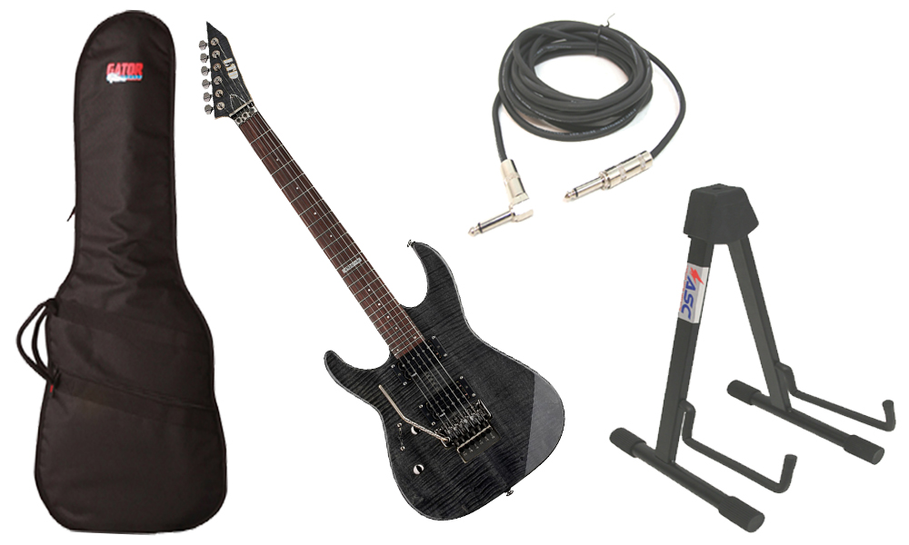 "ESP LTD M Series M-100FM Flamed Maple 6 String Rosewood Fingerboard See Through Black Electric Guitar (Left Hand) with Travel Gig Bag, Stand & 1/4"" Cable"