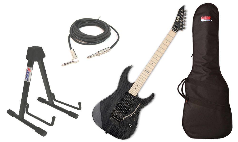 """ESP LTD M Series M-103FM Flamed Maple 6 String Rosewood Fingerboard See Through Black Electric Guitar with Travel Gig Bag, Stand & 1/4"""" Cable"""