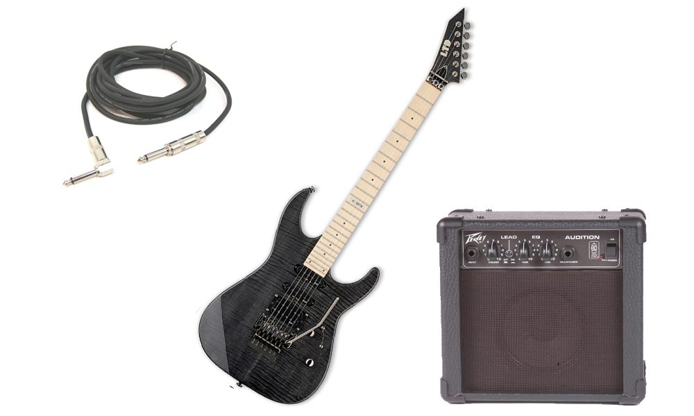 """ESP LTD M Series M-103FM Flamed Maple 6 String Rosewood Fingerboard See Through Black Electric Guitar with Peavey Audition Practice Amp & 1/4"""" Cable"""