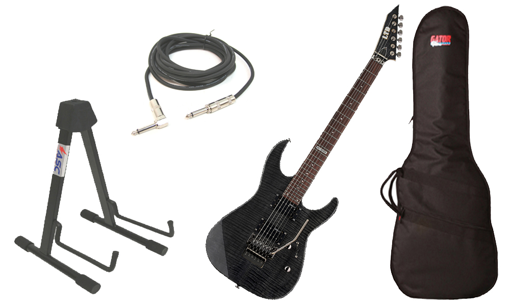 "ESP LTD M Series M-100FM Flamed Maple 6 String Rosewood Fingerboard See Through Black Electric Guitar with Travel Gig Bag, Stand & 1/4"" Cable"