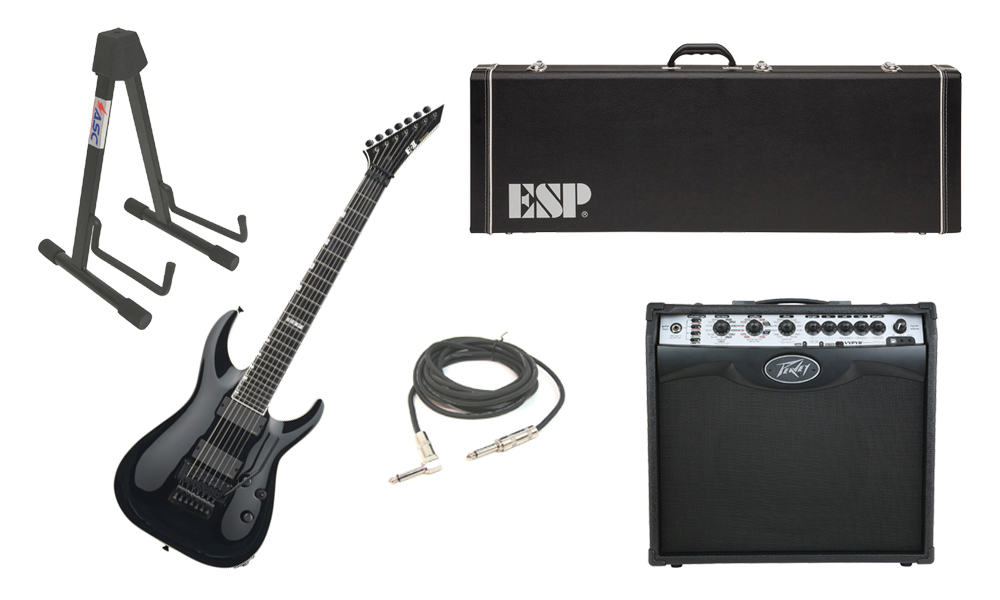 """ESP E-II Horizon FR-7 Maple Top 7 String Black Electric Guitar with Peavey VIP 2 Modeling Amp, 1/4"""" Cable & Stand"""