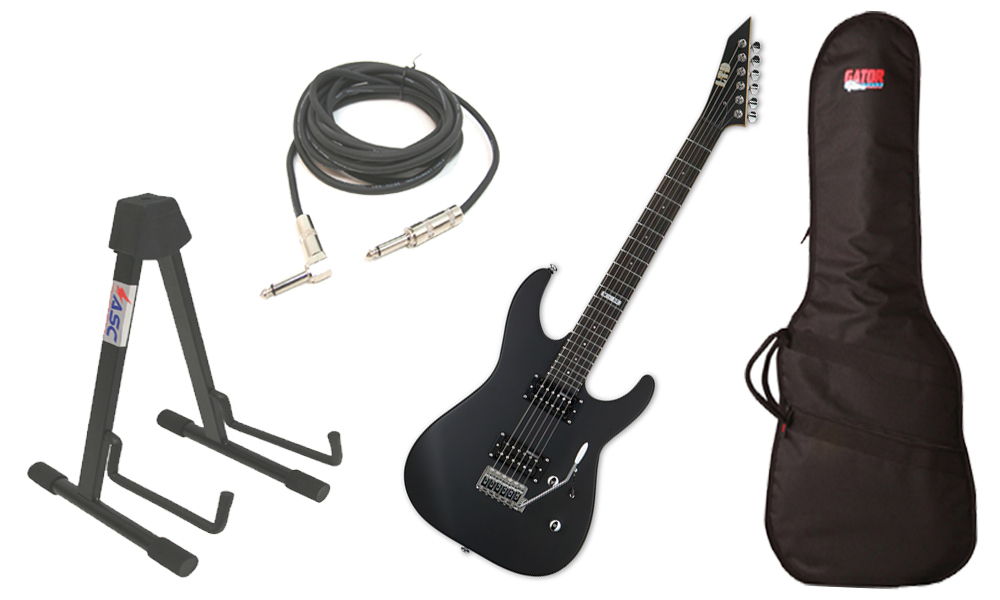"""ESP LTD M Series M-50 Basswood Body 6 String Rosewood Fingerboard Black Satin Electric Guitar with Travel Gig Bag, Stand & 1/4"""" Cable"""