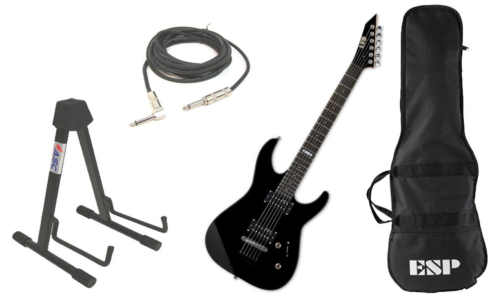 """ESP LTD M Series M-10 Kit Basswood Body 6 String Rosewood Fingerboard Black Electric Guitar with Stand & 1/4"""" Cable"""