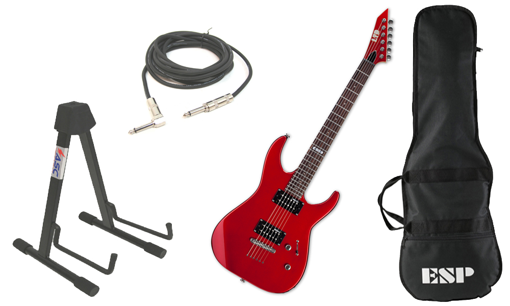 """ESP LTD M Series M-10 Kit Basswood Body 6 String Rosewood Fingerboard Candy Apple Red Electric Guitar with Stand & 1/4"""" Cable"""