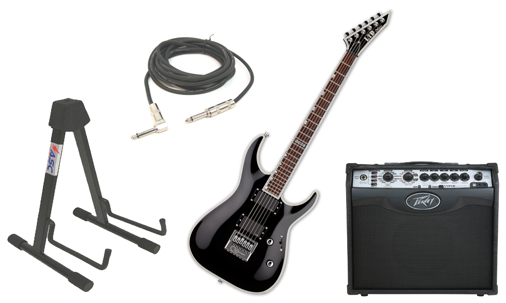 """ESP LTD MH Series MH-1000 Mahogany Body 6 String Rosewood Fingerboard Evertune Bridge Black Electric Guitar with Peavey VIP 1 Modeling Amp, 1/4"""" Cable & Stand"""