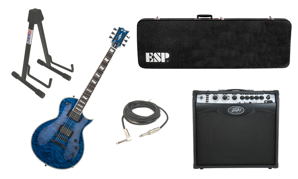 "ESP E-II Eclipse Quilted Maple Top 6 String Marine Blue Electric Guitar with Peavey VIP 2 Modeling Amp, 1/4"" Cable & Stand"