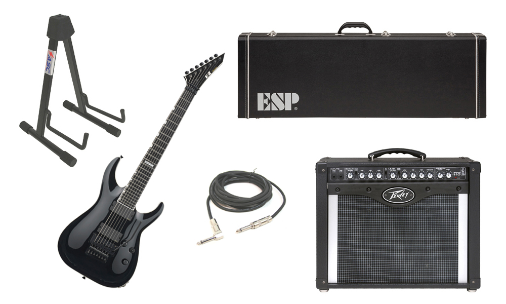 "ESP E-II Horizon FR-7 Maple Top 7 String Black Electric Guitar Electric Guitar with Peavey Envoy 110 Tube Amp, 1/4"" Cable & Stand"
