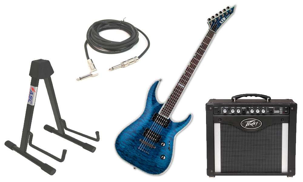 """ESP LTD MH Series MH-1000NT Quilted Maple 6 String Rosewood Fingerboard See Through Blue Electric Guitar with Peavey Rage 258 TransTube Amp, 1/4"""" Cable & Stand"""