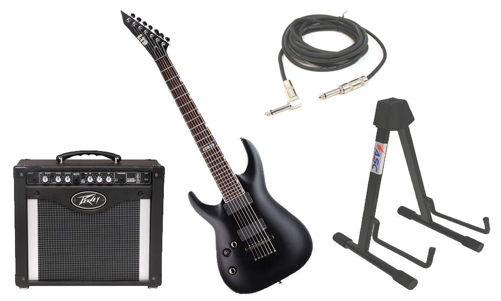 "ESP LTD MH Series MH-417 Mahogany Body 7 String Rosewood Fingerboard Black Satin Electric Guitar (Left Hand) with Peavey Rage 258 TransTube Amp, 1/4"" Cable & Stand"
