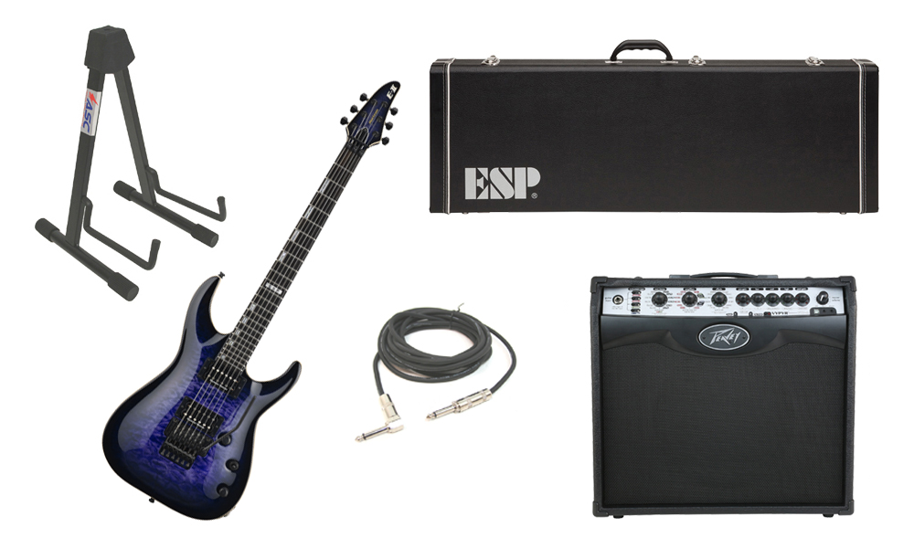 """ESP E-II Horizon Quilted Maple Top 6 String Reindeer Blue Electric Guitar with Peavey VIP 2 Modeling Amp, 1/4"""" Cable & Stand"""