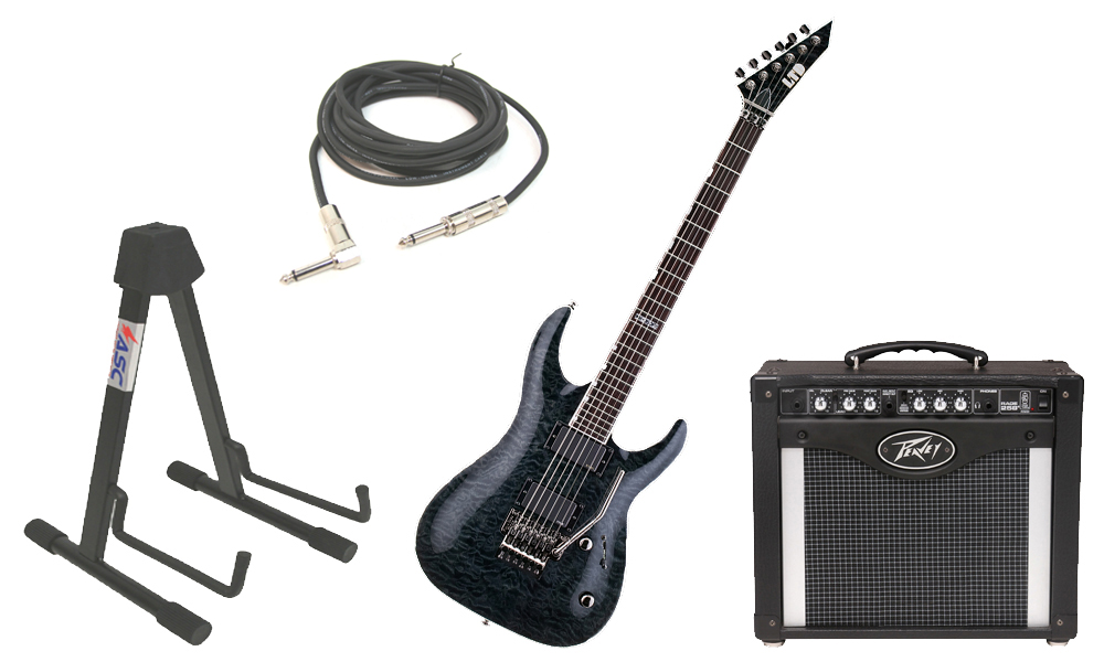 "ESP LTD MH Series MH-350FR Quilted Maple 6 String Floyd Rose Bridge See Through Black Electric Guitar with Peavey Rage 258 TransTube Amp, 1/4"" Cable & Stand"