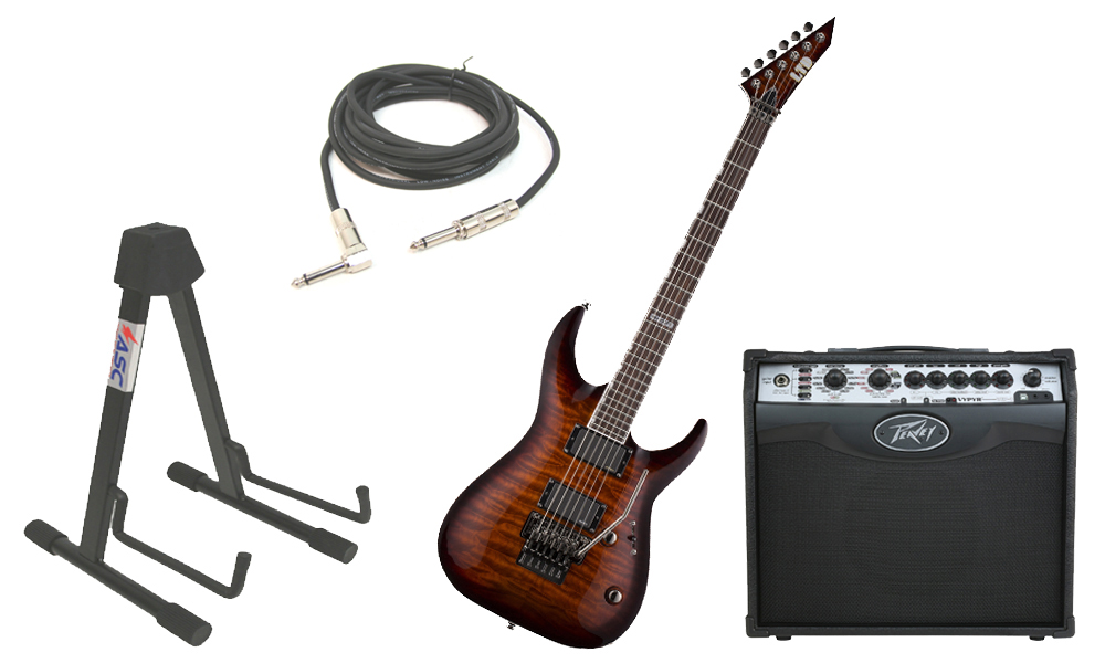 "ESP LTD MH Series MH-350FR Quilted Maple 6 String Floyd Rose Bridge Dark Brown Sunburst Electric Guitar with Peavey VIP 1 Modeling Amp, 1/4"" Cable & Stand"
