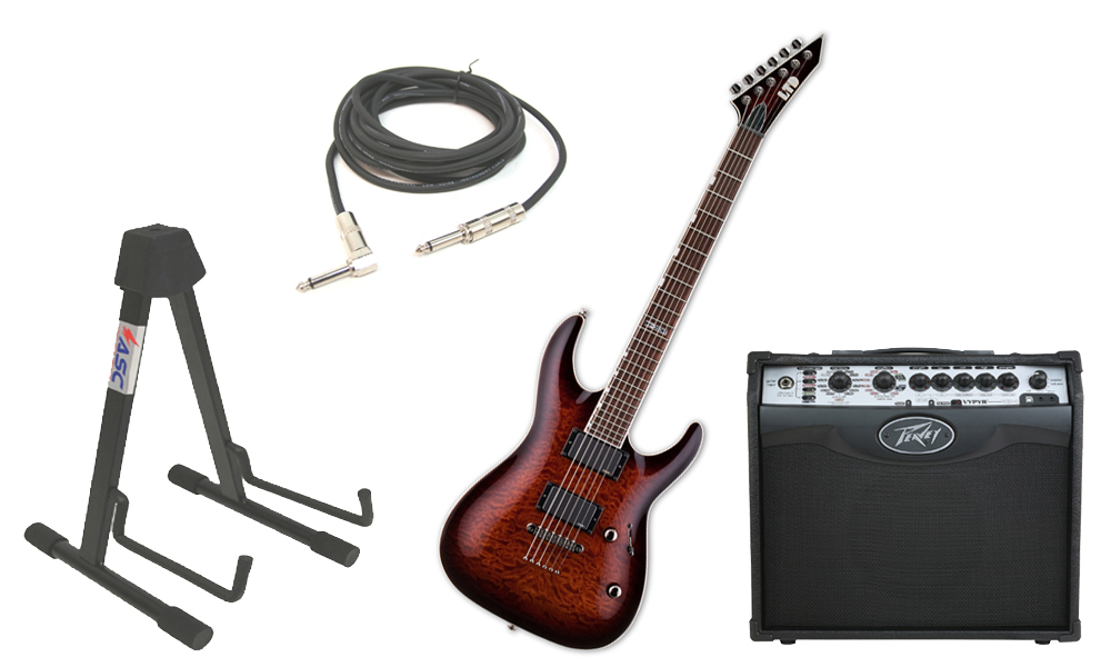 """ESP LTD MH Series MH-350NT Quilted Maple 6 String EMG Pickups Dark Brown Sunburst Electric Guitar with Peavey VIP 1 Modeling Amp, 1/4"""" Cable & Stand"""