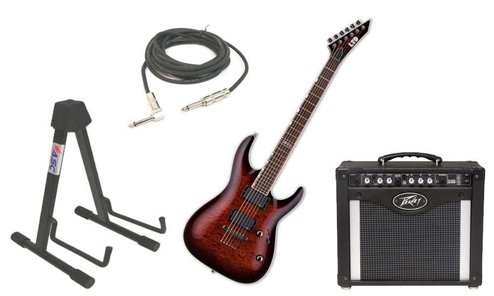 "ESP LTD MH Series MH-350NT Quilted Maple 6 String EMG Pickups Dark Brown Sunburst Electric Guitar with Peavey Rage 258 TransTube Amp, 1/4"" Cable & Stand"