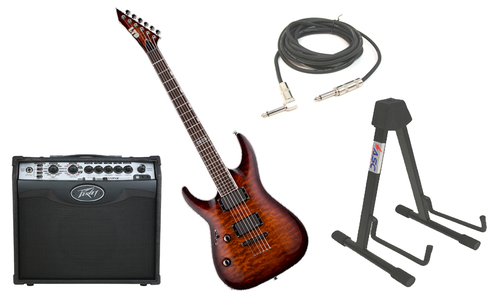 "ESP LTD MH Series MH-350NT Quilted Maple 6 String EMG Pickups Dark Brown Sunburst Electric Guitar (Left Hand) with Peavey VIP 1 Modeling Amp, 1/4"" Cable & Stand"