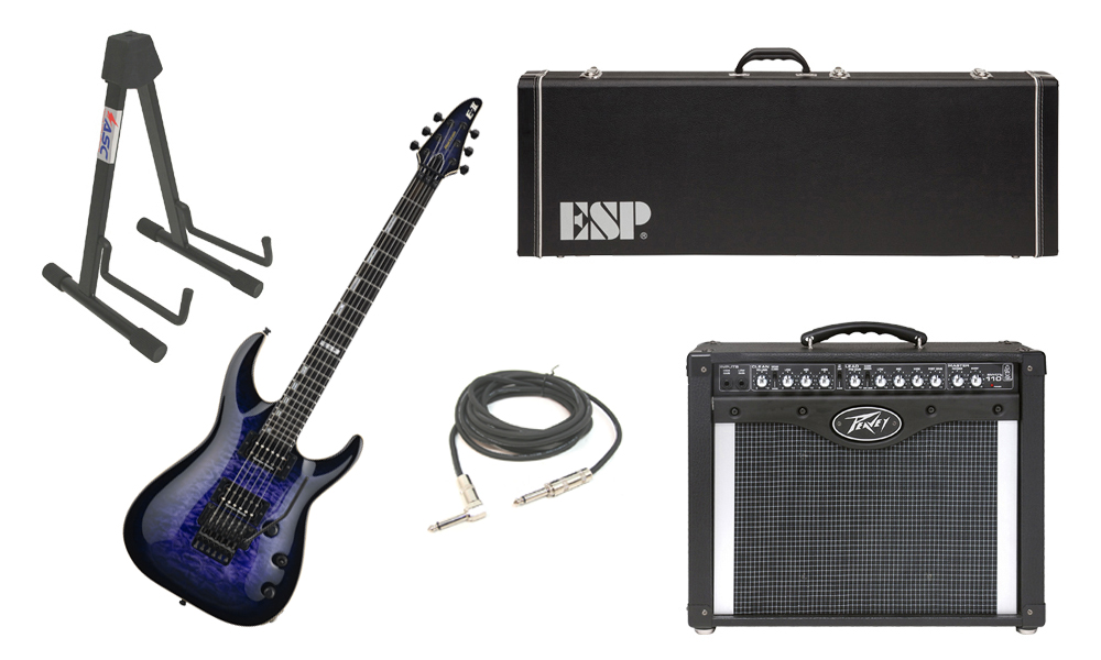 """ESP E-II Horizon Quilted Maple Top 6 String Reindeer Blue Electric Guitar with Peavey Envoy 110 Tube Amp, 1/4"""" Cable & Stand"""
