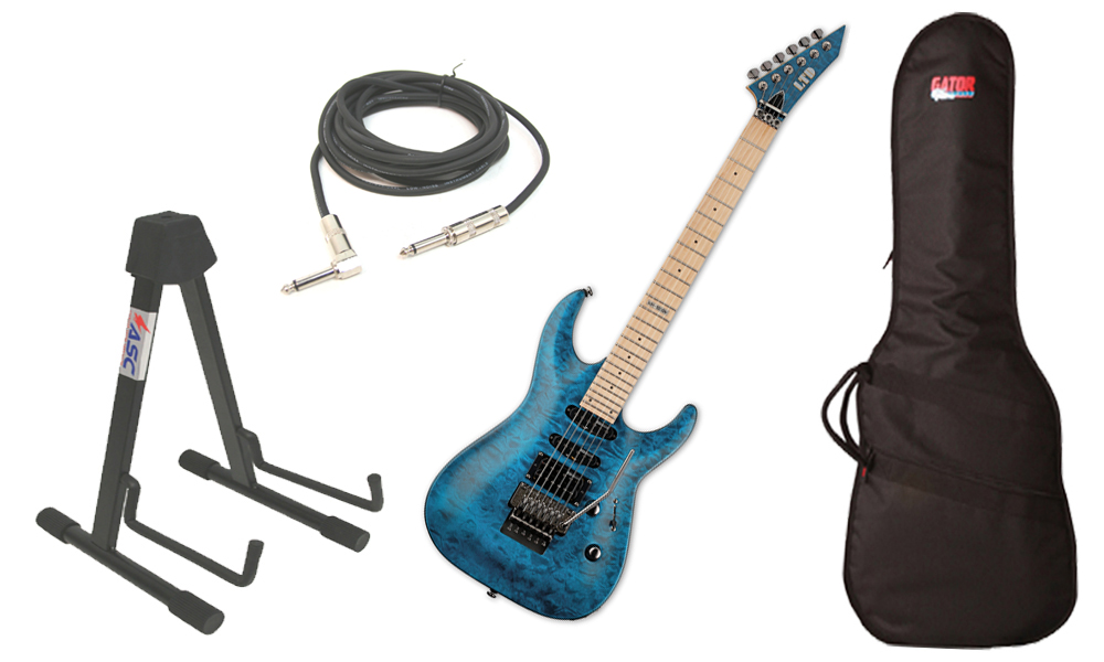 "ESP LTD MH Series MH-103 Quilted Maple 6 String See Through Blue Electric Guitar with Travel Gig Bag, Stand & 1/4"" Cable"