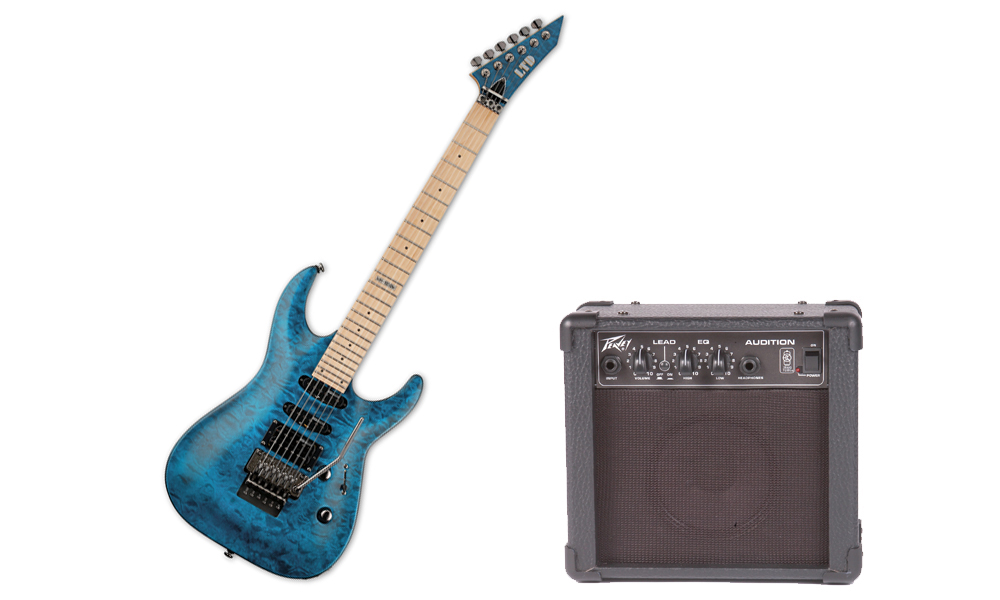 ESP LTD MH Series MH-103 Quilted Maple 6 String See Through Blue Electric Guitar & Peavey Audition Practice Amp