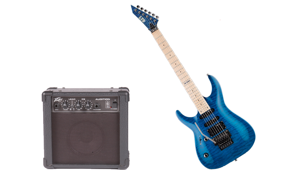 ESP LTD MH Series MH-103 Quilted Maple 6 String See Through Blue Electric Guitar (Left Hand) & Peavey Audition Practice Amp