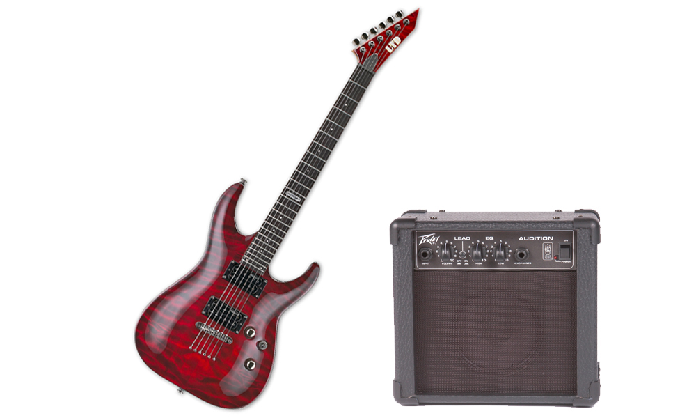 ESP LTD MH Series MH-100 Quilted Maple 6 String See Through Black Cherry Electric Guitar & Peavey Audition Practice Amp