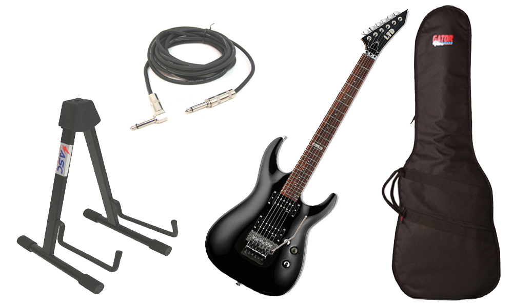 "ESP LTD MH Series MH-50 Basswood Body 6 String Black Electric Guitar with Travel Gig Bag, Stand & 1/4"" Cable"
