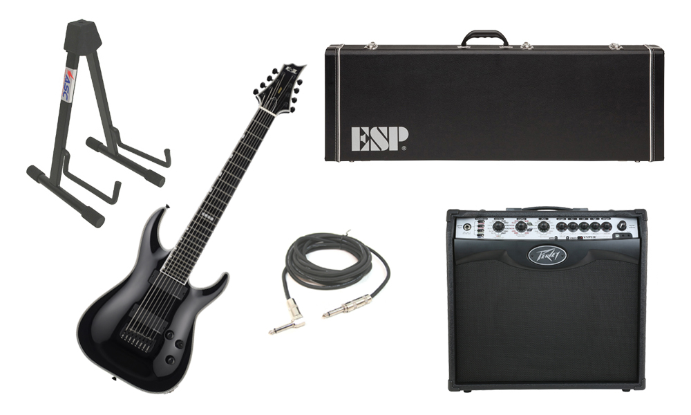 "ESP E-II Horizon NT-8B Maple Top 8 String Black Electric Guitar with Peavey VIP 2 Modeling Amp, 1/4"" Cable & Stand"