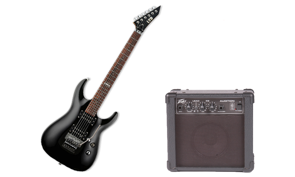 ESP LTD MH Series MH-50 Basswood Body 6 String Black Electric Guitar & Peavey Audition Practice Amp