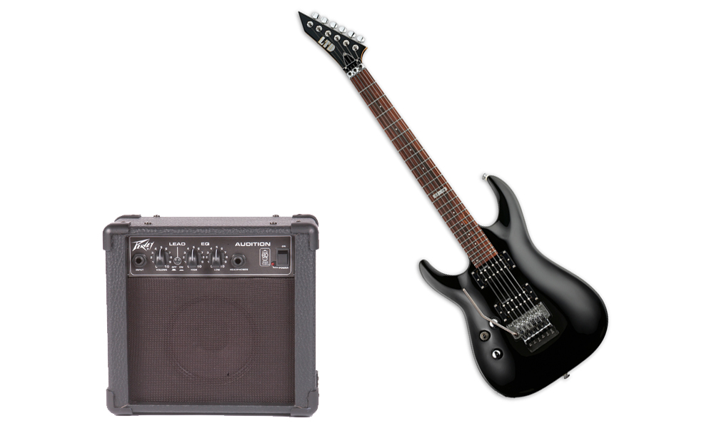 ESP LTD MH Series MH-50 Basswood Body 6 String Black Electric Guitar (Left Hand) & Peavey Audition Practice Amp