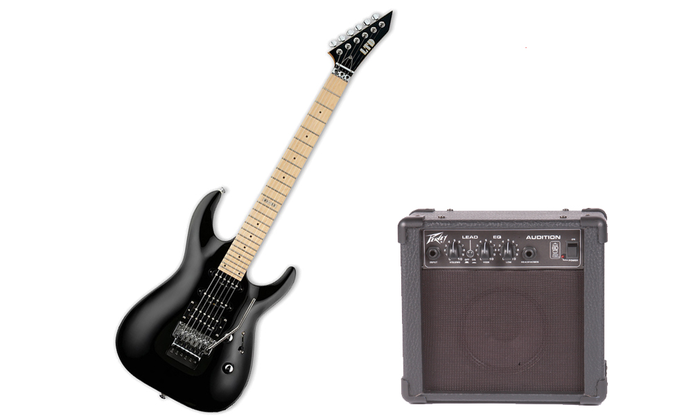 ESP LTD MH Series MH-53 Basswood Body 6 String Black Electric Guitar & Peavey Audition Practice Amp