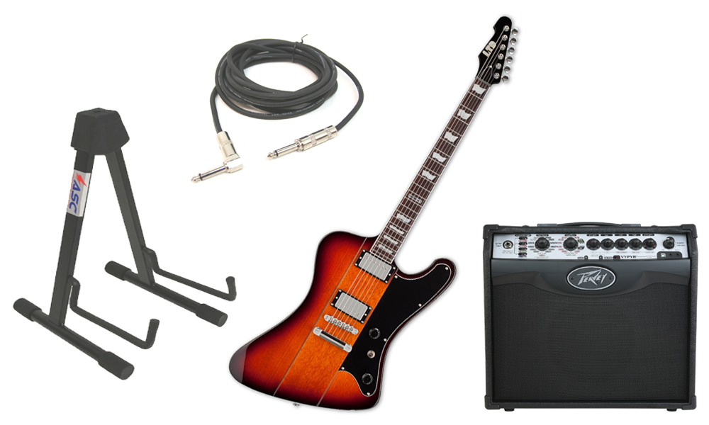 """ESP LTD Phoenix Series 401 Alder Body 6 String 2 Tone Burst Electric Guitar with Peavey VIP 1 Modeling Amp, 1/4"""" Cable & Stand"""