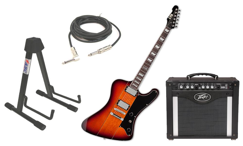 "ESP LTD Phoenix Series 401 Alder Body 6 String 2 Tone Burst Electric Guitar with Peavey Rage 258 TransTube Amp, 1/4"" Cable & Stand"