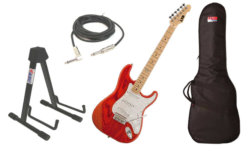 """ESP LTD ST Series ST-213 Swamp Ash Body 6 String Maple Fingerboard Burnt Orange Electric Guitar with Travel Gig Bag, Stand & 1/4"""" Cable"""