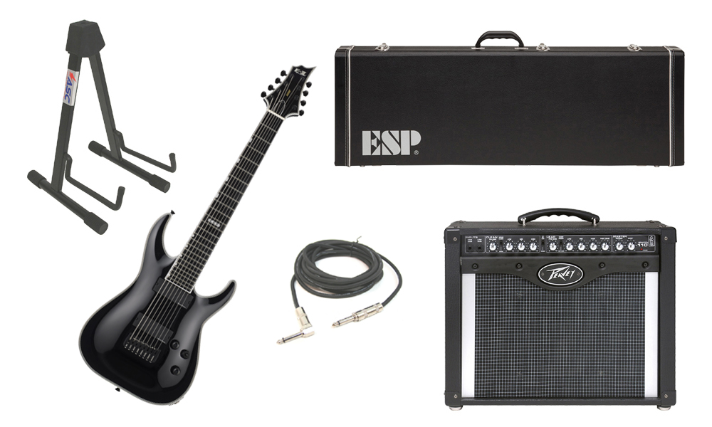 "ESP E-II Horizon NT-8B Maple Top 8 String Black Electric Guitar with Peavey Envoy 110 Tube Amp, 1/4"" Cable & Stand"