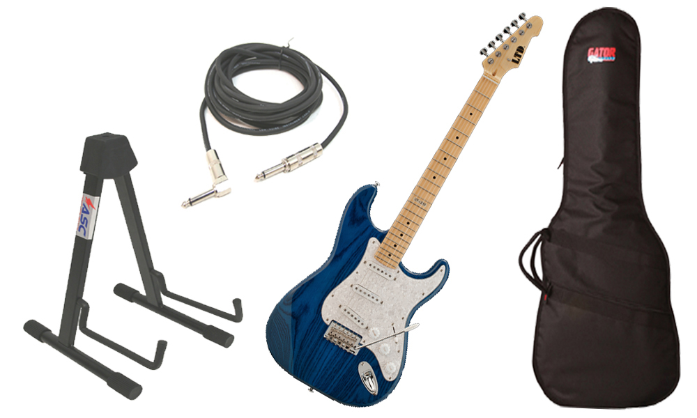 "ESP LTD ST Series ST-213 Swamp Ash Body 6 String Maple Fingerboard See Through Blue Electric Guitar with Travel Gig Bag, Stand & 1/4"" Cable"